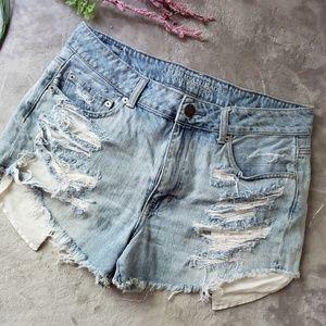 AEO high waisted distressed denim shorts. Size 12